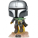 Deals List: Funko Pop! Star Wars: The Mandalorian - Mandalorian Flying with The Child Grey
