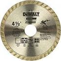 Deals List: DEWALT Diamond Blade for Masonry, Dry Cutting, Continuous Rim, 7/8-Inch Arbor, 4-1/2-Inch (DW4725)