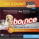 Deals List: Bounce Pet Hair and Lint Guard Mega Dryer Sheets for Laundry, Fabric Softener with 3X Pet Hair Fighters, Fresh Scent, 120 Count