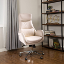 Deals List: Glitzhome 27.4 in. Width Big and Tall Cream Leather Chair
