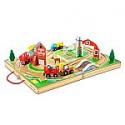 Deals List: Melissa & Doug 17-Piece Wooden Take-Along Tabletop Farm, 4 Farm Vehicles, Play Pieces, Barn, Grain House