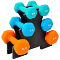 Deals List: Sporzon! Colored Neoprene Coated Dumbbell Set with Stand